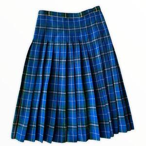 Pure Virgin Wool Plaid Vintage Skirt 14 Blue Green